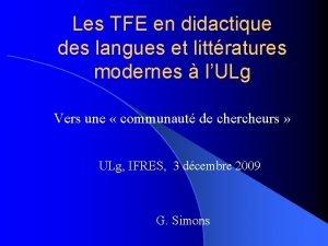 Les TFE en didactique des langues et littratures