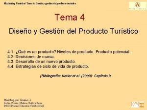 Marketing Turstico Tema 4 Diseo y gestin del