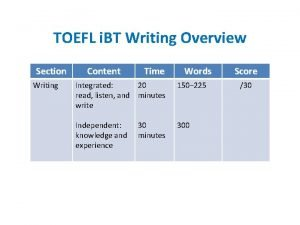 TOEFL i BT Writing Overview Section Writing Content