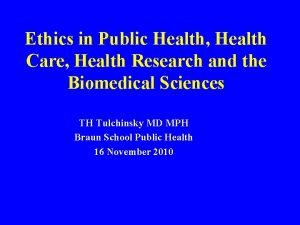 Ethics in Public Health Health Care Health Research