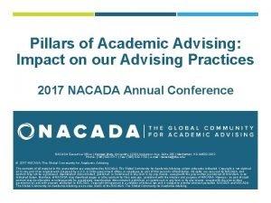 Pillars of Academic Advising Impact on our Advising