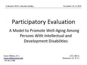 Evaluation 2010 Evaluation Quality November 10 13 2010