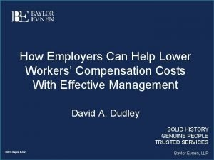 How Employers Can Help Lower Workers Compensation Costs