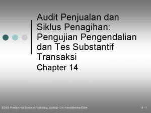 Audit Penjualan dan Siklus Penagihan Pengujian Pengendalian dan