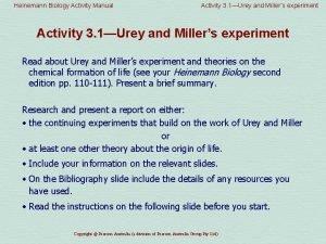 Heinemann Biology Activity Manual Activity 3 1Urey and