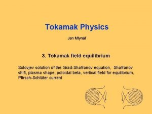 Tokamak Physics Jan Mlyn 3 Tokamak field equilibrium