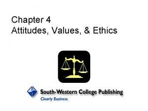 Chapter 4 Attitudes Values Ethics Attitude a psychological