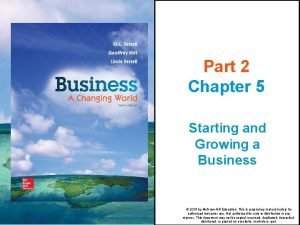 Part 2 Chapter 5 Starting and Growing a