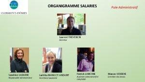 ORGANIGRAMME SALARIES Pole Administratif Laurent THEVENON Directeur Sandrine