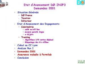 Etat dAvancement DIN 2 P 3 Demandes 2001