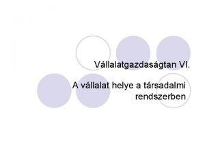 Vllalatgazdasgtan VI A vllalat helye a trsadalmi rendszerben