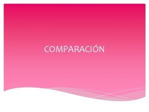 COMPARACIN Observar diferencias y similitudes Comparar es Un