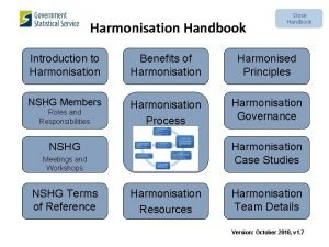 Harmonisation Handbook Close Handbook Introduction to Harmonisation Benefits