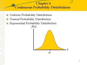 Chapter 6 Continuous Probability Distributions Uniform Probability Distribution