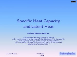 Specific Heat Capacity and Latent Heat AS level