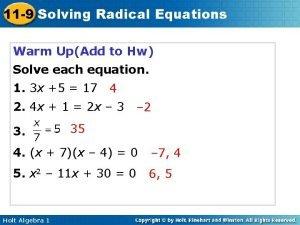 11 9 Solving Radical Equations Warm UpAdd to