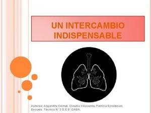 UN INTERCAMBIO INDISPENSABLE Autoras Alejandra Cornet Claudia Villaverde