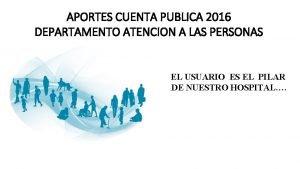 APORTES CUENTA PUBLICA 2016 DEPARTAMENTO ATENCION A LAS