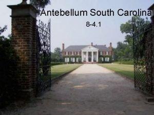 Antebellum South Carolina 8 4 1 I Slavery