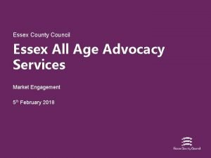 Essex County Council Essex All Age Advocacy Services