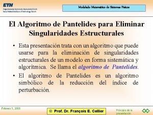 Modelado Matemtico de Sistemas Fsicos El Algoritmo de
