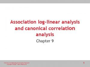 Association loglinear analysis and canonical correlation analysis Chapter