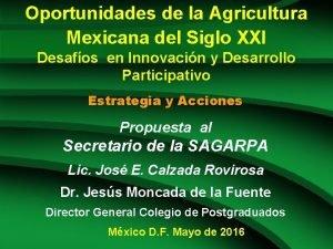 Oportunidades de la Agricultura Mexicana del Siglo XXI