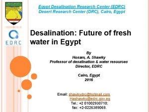 Egypt Desalination Research Center EDRC Desert Research Center