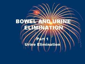 BOWEL AND URINE ELIMINATION Part 1 Urine Elimination