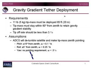 DINO PDR 1212020 Gravity Gradient Tether Deployment Requirements