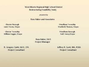 West Morris Regional High School District Restructuring Feasibility