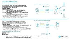 ATT Firewall Battlecard ATT NetworkBased Firewall How ATT