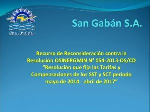 San Gabn S A Recurso de Reconsideracin contra