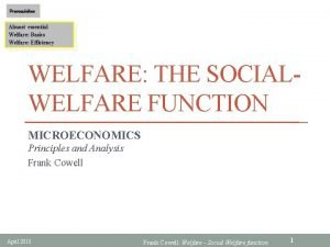 Prerequisites Almost essential Welfare Basics Welfare Efficiency WELFARE
