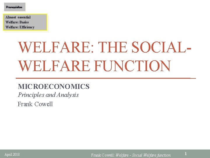 Prerequisites Almost essential Welfare Basics Welfare Efficiency WELFARE