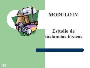MODULO IV Estudio de sustancias txicas 197 Objetivos
