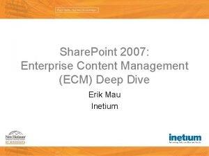 Share Point 2007 Enterprise Content Management ECM Deep