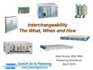 Interchangeability The What When and How Alan Hume