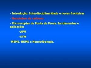 Introduo Interdisciplinaridade e novas fronteiras Nanotubos de carbono