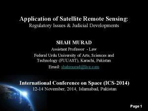 Application of Satellite Remote Sensing Regulatory Issues Judicial