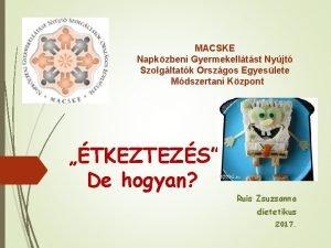 MACSKE Napkzbeni Gyermekelltst Nyjt Szolgltatk Orszgos Egyeslete Mdszertani