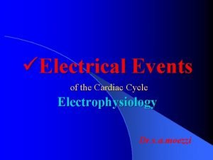 Electrical Events of the Cardiac Cycle Electrophysiology Dr