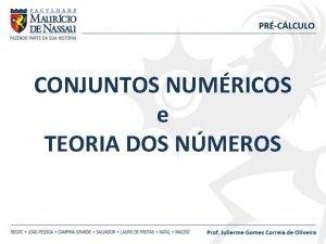 CONJUNTOS NUMRICOS e TEORIA DOS NMEROS NMEROS NATURAIS