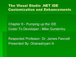 The Visual Studio NET IDE Customization and Enhancements