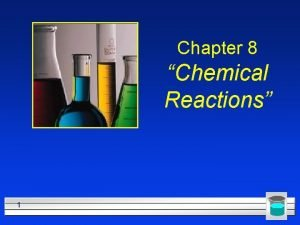 Chapter 8 Chemical Reactions 1 Describing Chemical Reactions