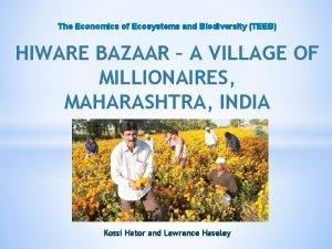 The Economics of Ecosystems and Biodiversity TEEB HIWARE