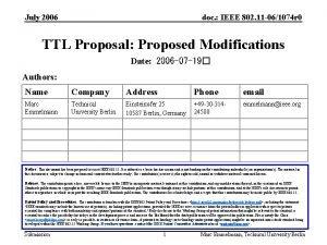 July 2006 doc IEEE 802 11 061074 r