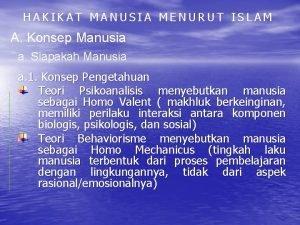 HAKIKAT MANUSIA MENURUT ISLAM A Konsep Manusia a