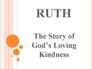 RUTH The Story of Gods Loving Kindness RUTH