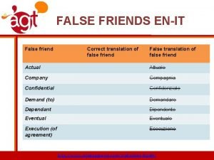 FALSE FRIENDS ENIT False friend Correct translation of